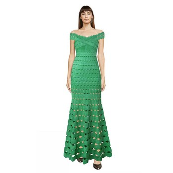 wholesale 2019 New dress green Hollow Slash neck fashion luxurious elegant celebrity cocktail party bandage long dress (H2273)
