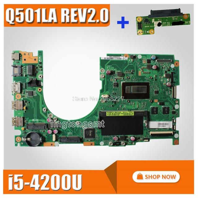 send board+For Asus Q501LA Motherboard Q501LA REV2.0 Mainboard With i5-4200U Intergated 100% Tested