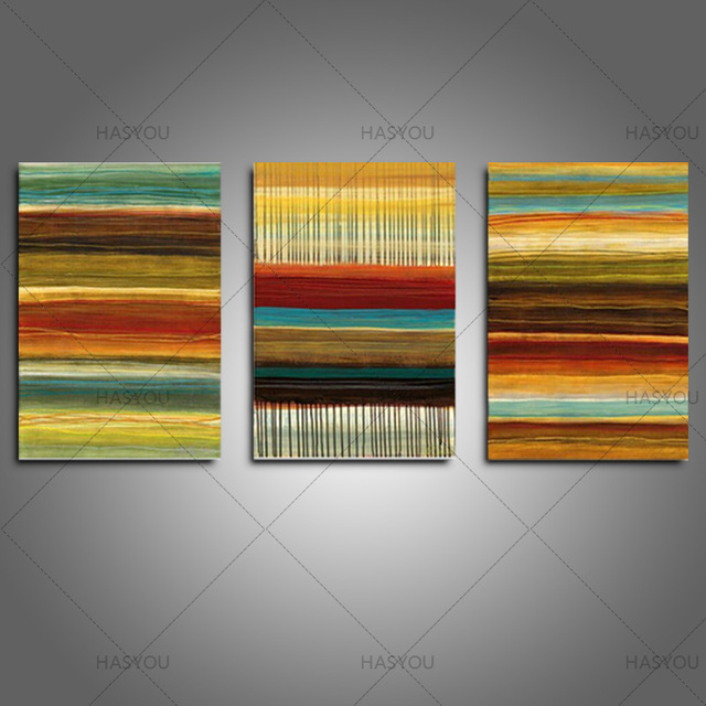3 piece canvas painting abstract oil painting 100% handmade bright ...