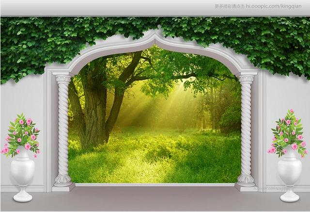 3d Wallpaper 3D Mural HD Arches Green Forest Murals For Tv Sofa Background Wedding Decoration