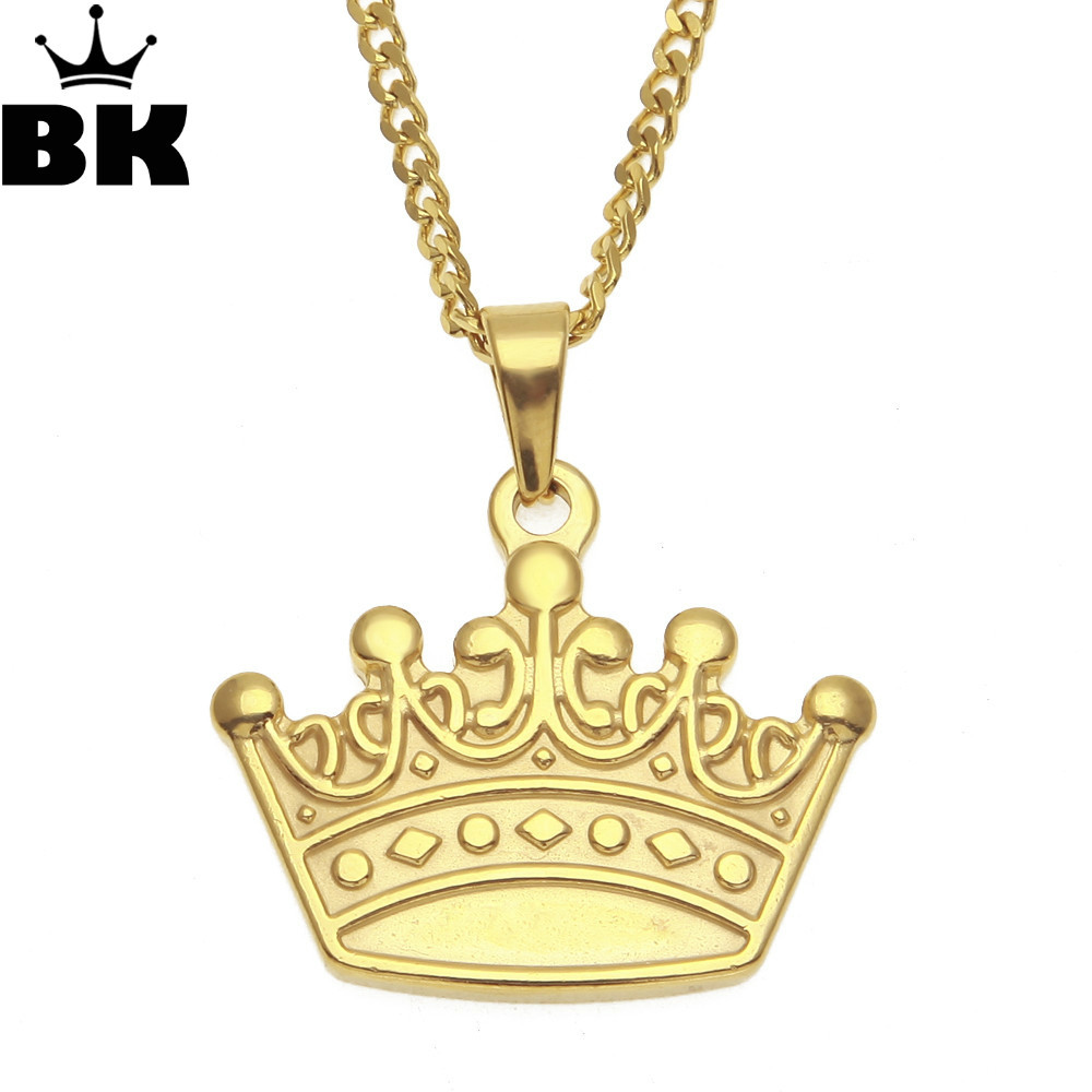 Gold Queen Crown Pendant Necklace