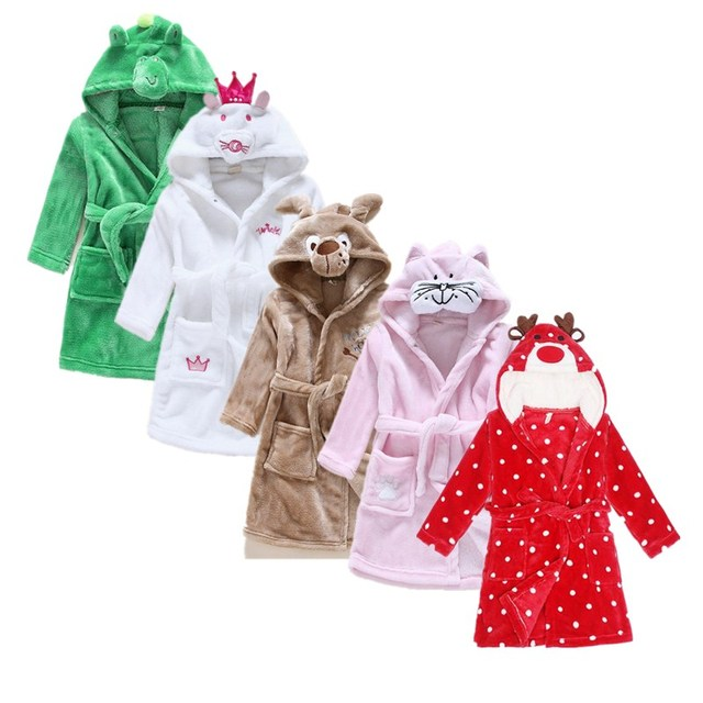 Girls Bath Robe Fashion Dressing Gown Children Bathrobes Sleeping ...