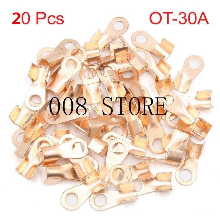 20pcs L4Y 6mm OT 30A Dia Copper Circular Splice Terminal