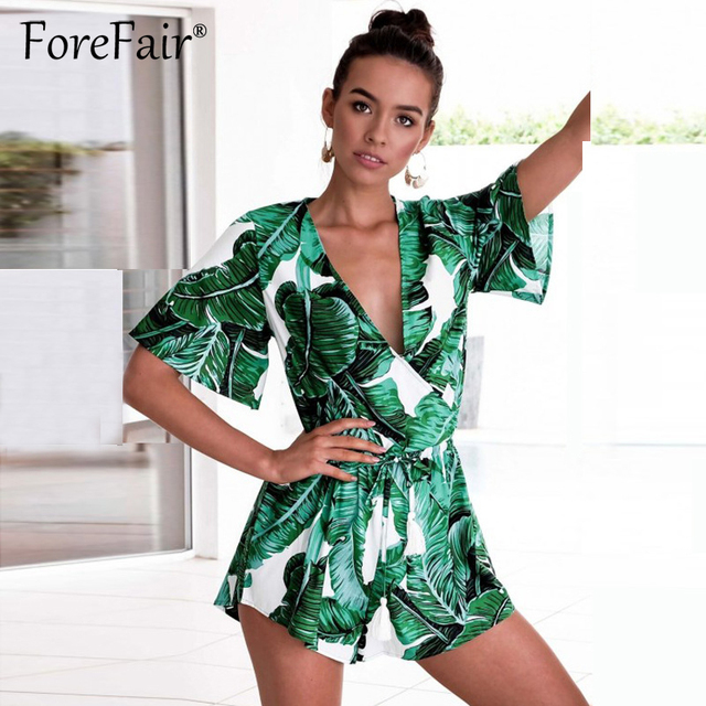 1ecc68252b Forefair 2018 Green Leaf Print Loose Playsuits Female Criss Cross V Neck  Drawstring Elastic Waist Jumpsuit
