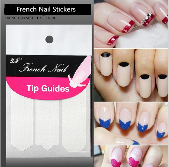 48stickers set variety french manicure tip guides round form gel polish nail art stickers in stickers decals from beauty health on aliexpress com