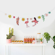 Flamingo Flower Tropical Leaves Paper Garland Party Banner for Hawaiian Luau Beach Summer Birthday Wedding Shower Decor