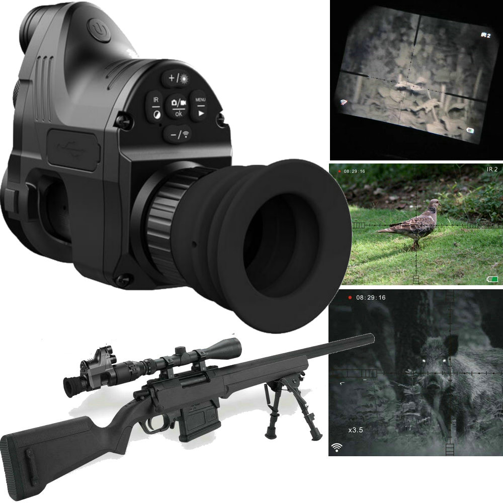 Night Vision Optics Monocular for Riflescope w/ Wifi APP 200M Range NV Scope 850nm IR Night Vision Sight Hunting Digital Camera