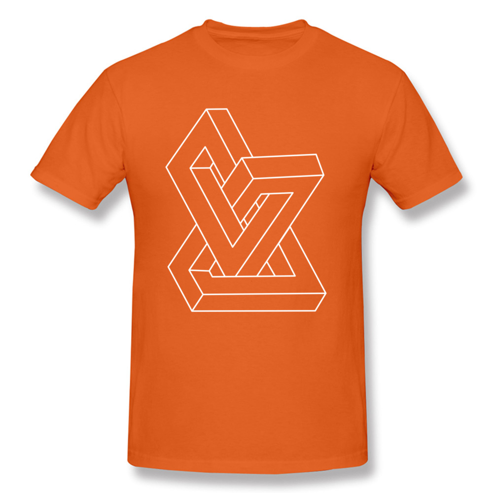 Cheap Men T-Shirt Crew Neck Short Sleeve All Cotton Design Tees Personalized Clothing Shirt Free Shipping Optical illusion   Impossible figure orange