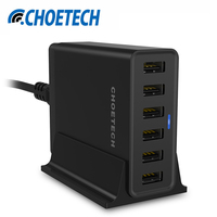 Multi USB Charger for iPhone 7 6S, CHOETECH 50W USB Travel Wall Charger for Samsung Galaxy S8 S7 Mobile Phone Chargers Adapter