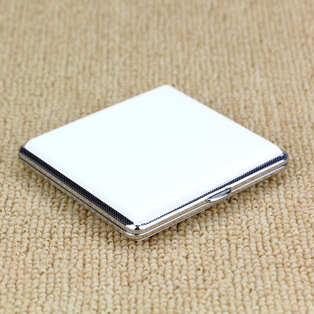 Solid White Cigarette <font><b>Case</b></font> Leather Box for 20 Cigarettes Open-Close Smoking <font><b>Case</b></font> <font><b>Tobacco</b></font> Pouch Cigarette Bag TP-300A image