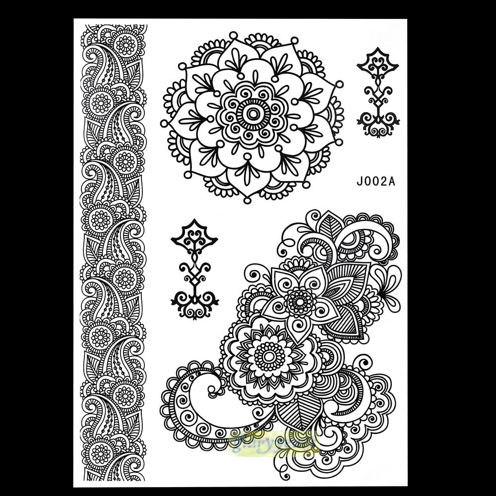 1PC Fashion Flash Nontoxic Tattoo Henna Women Black Flower Jewel Lace Strap Stlye BJ002A Body Art Temporary Tattoo Sheet Sticker