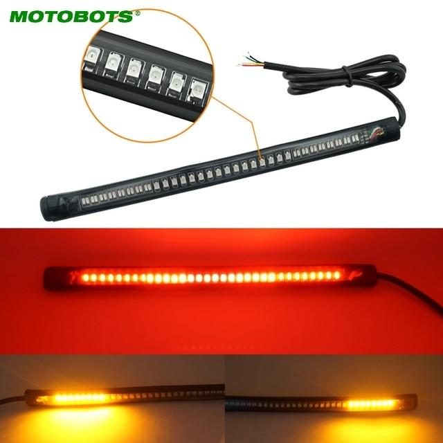 MOTOBOTS 1 pc Rouge et Ambre Moto Voiture 48 LED clignotant LED D'arrêt de Frein De Queue De Lampe de Plaque D'immatriculation Arrière Lumière # CA2376