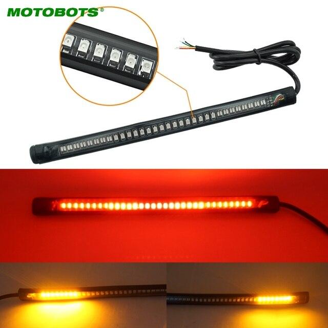 MOTOBOTS 1 pc Rouge et Ambre Moto Voiture 48LED LED Tourner la Queue Signal Lumineux De Frein Arrêt License plate Lampe Arrière Lumière # CA2376
