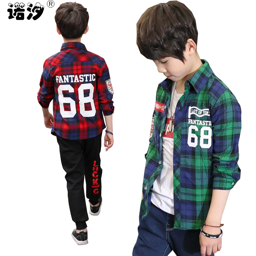 Boys outwear clothes boys casual blouse Kids Clothes boys shirt Childrens Fashion Long-sleeved Cotton tops high quality 3-15 Y