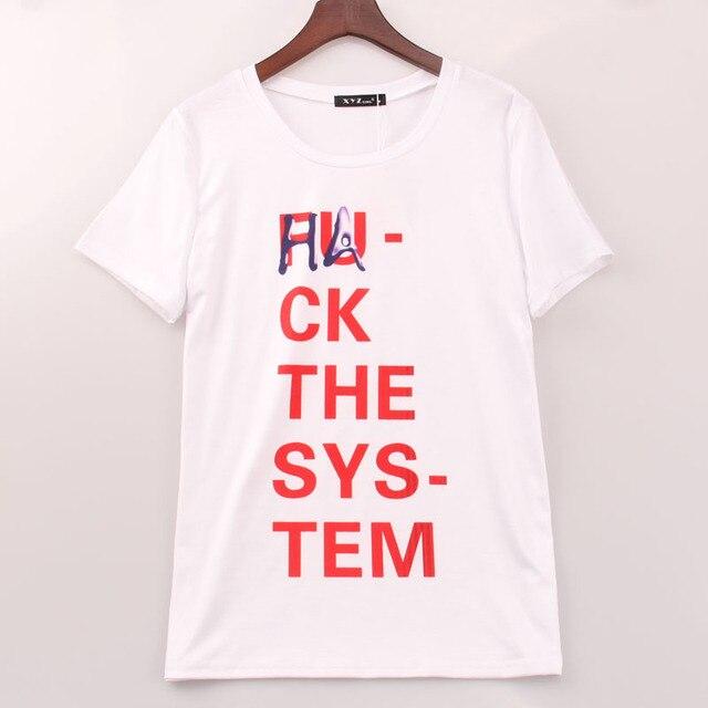 cheaper biggest discount classic US $7.49 |2016 Rock Cool T shirt Vrouwen Hack De Systeem Gedrukt Printing T  shirt Vrouwen Mode Zomer Tee Top Shirt Femme Vrouw Sakura in 2016 Rock ...