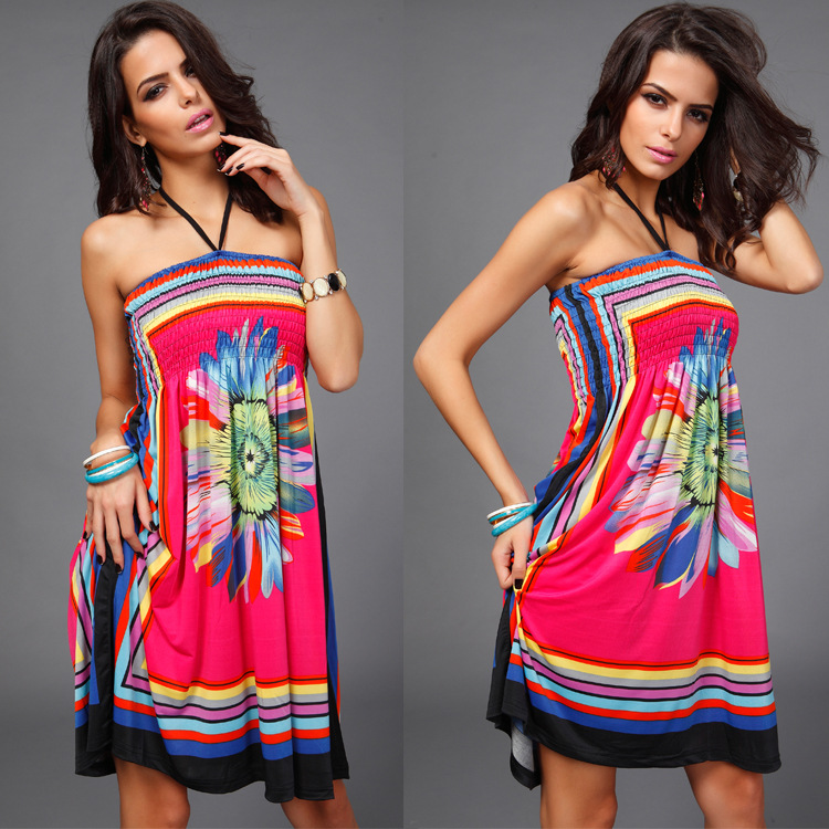 2017 spring and Summer new sexy for women casual vestidos vintage beach dresses looks thin holiday printed strapless loose 16