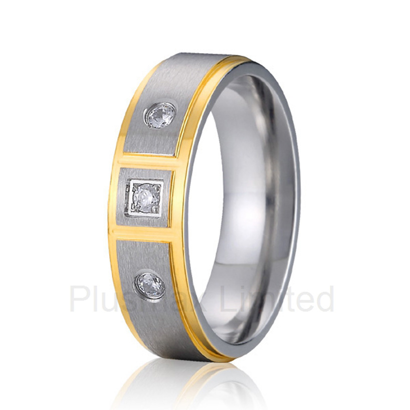 Custom jewelry factory Expert women branded cheap pure titanium promise wedding rings for anniversary anel de casamento cheap pure titanium satin surface gold color colorful stone cheap pure titanium promise wedding band rings