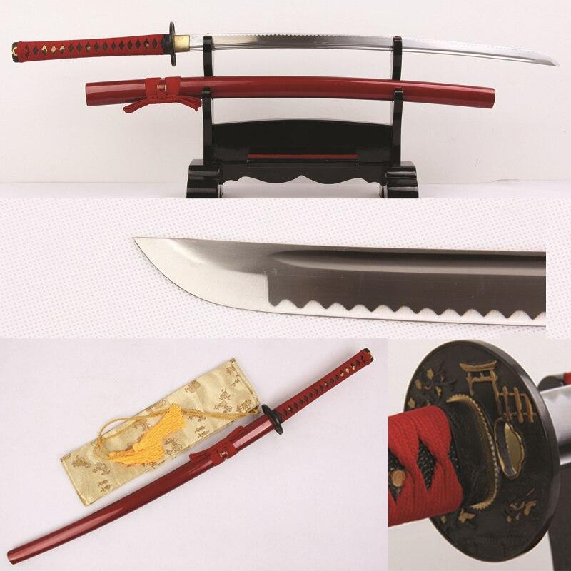 Giapponese Samurai Sword Handmade 1060 Alto Tenore di Carbonio Lama In Acciaio Completa di Linguetta Professionale Per La Pratica di Arti marziali Iaito Katana-in Spade da Casa e giardino su  Gruppo 1