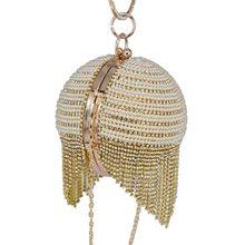 144b9817829eb Gold Ball Diamant Quaste Frauen Party Metall Kristall Abend Tasche Hochzeit  tasche Braut Schulter Handtasche Weibliche