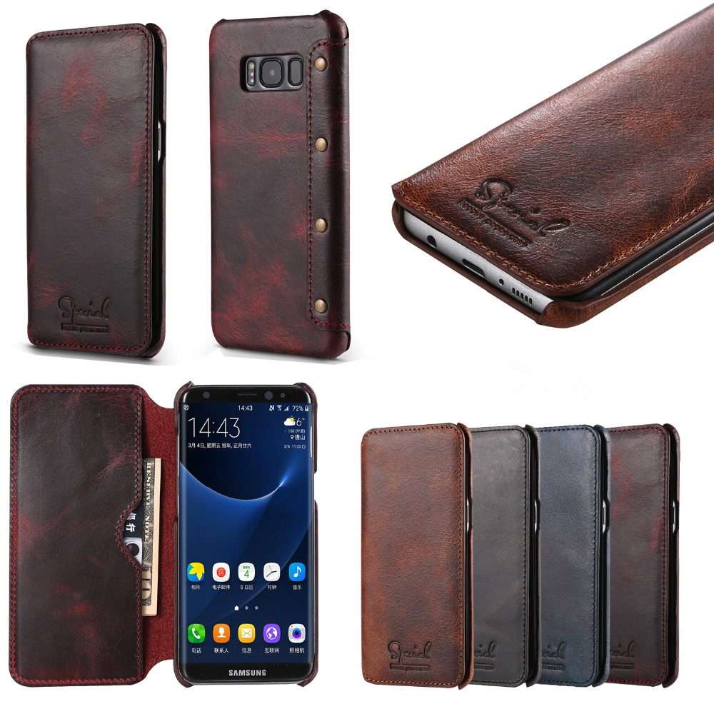 Genuine Leather Flip Case For Samsung Galaxy S8 S8Plus 5.8 Wallet Case With Card Holder&Money Pocket S8+ Phone Shell Back Cover