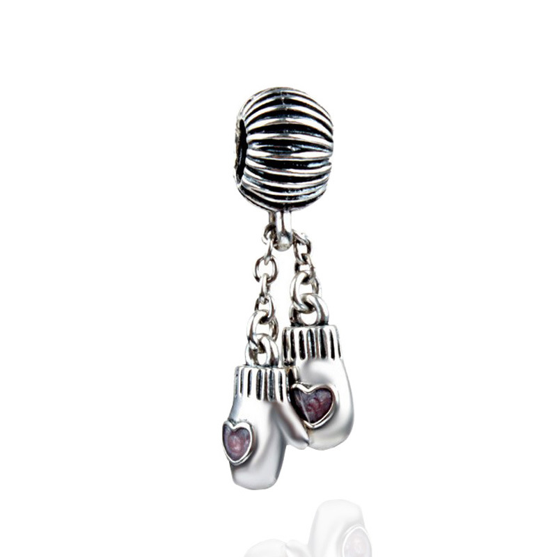 Hot Sale Silver Boxing Gloves Beads Charms Fit Women DIY Pandora Bracelets & Bangles Jewelry H080