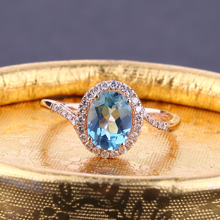 6x8mm Oval Cut Natural Blue Topaz Natural Diamonds Engagement Wedding Ring Solid 14k Rose Gold o åhlström 4 sonatas for harpsichord and violin op 2