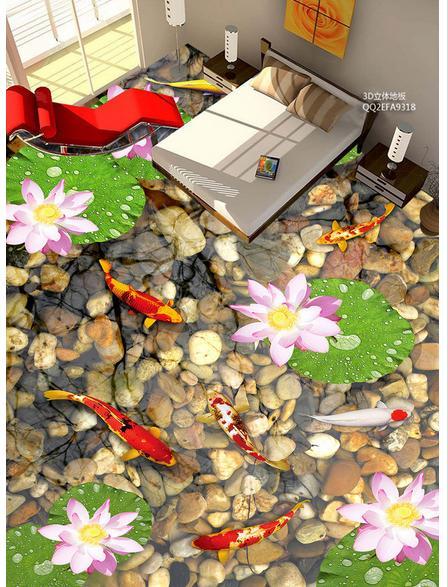 Personnalisé photo plancher papier peint maison-malade une fois de plus pour fleur pierre 3d mural PVC papier peint auto-adhérence sol wallpaer décor