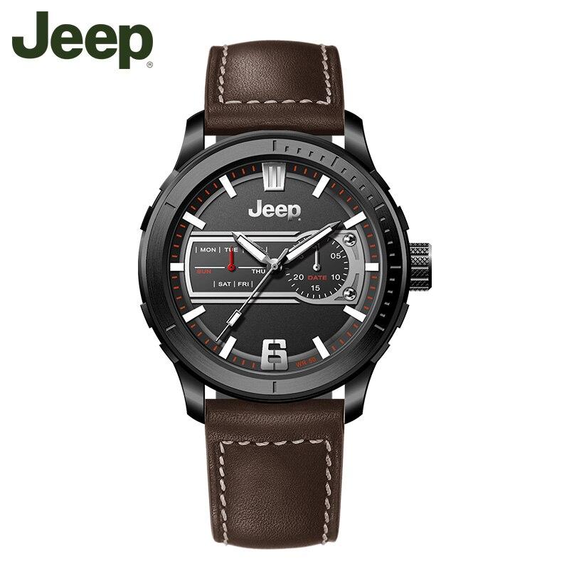 Jeep Original Watch Brand Mens Watches Luminous Quartz Brown Black Leather Strap Waterproof Luxury Brand Watches JPW65602