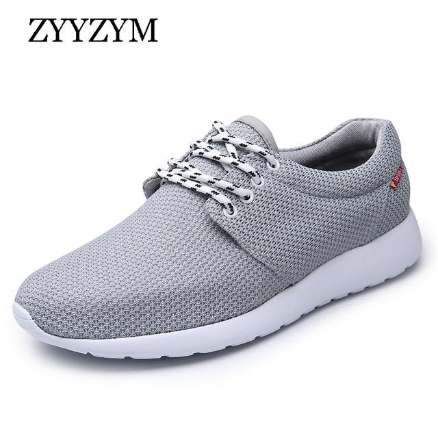 8ba69853e4 ZYYZYM Calçados Casuais Dos Homens 2019 Primavera Verão Homens Respirável  Malha Sapatos Plus Size Eur 38