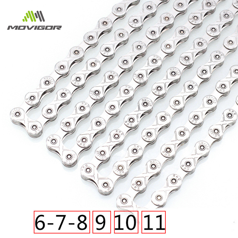 Movigor Ultraleicht Stahl Bike Ketten 1 6 7 8 9 10 11 Speed MTB Rennrad Ketten 116L Fahrrad Kette für Shimano/SRAM Radfahren Teil