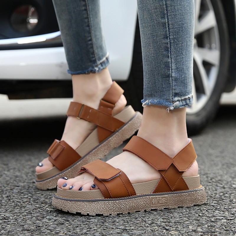 2017 summer casual shoes strap ladies women platform peep-toe genuine leather sandals comfortable Gladiator Beach Cork plus size phyanic 2017 gladiator sandals gold silver shoes woman summer platform wedges glitters creepers casual women shoes phy3323
