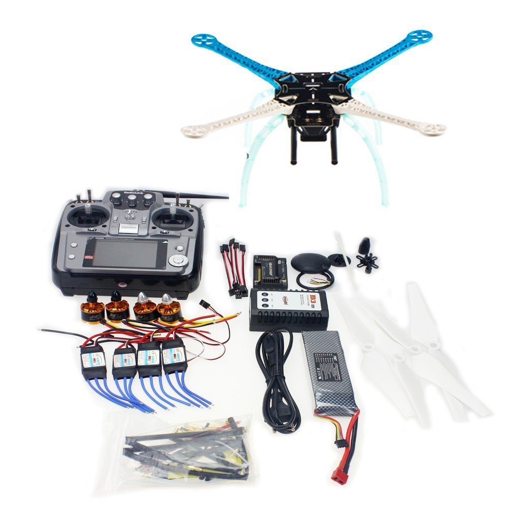 JMT S500-PCB DIY GPS Drone Multi-Rotor Frame Full Kit APM2.8 AT10 TX&RX Motor ESC jmt diy drone f550 multi rotor full kit 1045 3 props 6 axle rc multi hexac