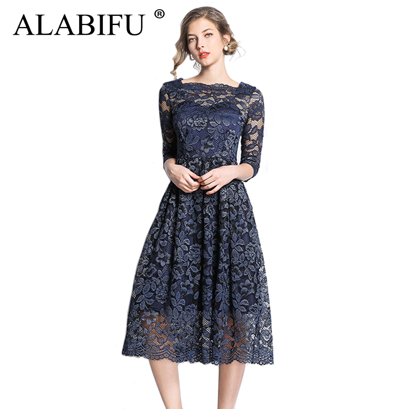 ALABIFU Long Summer Dress Women 2019 Sexy Ball Gown Lace Dress Plus Size  Elegant Wedding Bridesmaid ee61d663d567