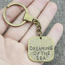 Antique Bronze 30x30mm Big Size One Sided Dreaming Of The Sea Keychain New Vintage Handmade Metal Key Ring Party Gift