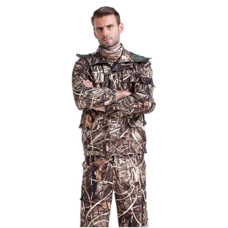 Waterproof Breathable Camouflage Hunting Suits Mens Winter Bionic Camouflage Fishing Clothing Jacket + Pants free shipping hunting clothing pants jungie tactical bionic camouflage fishing bird watching hunting set water proof scratch