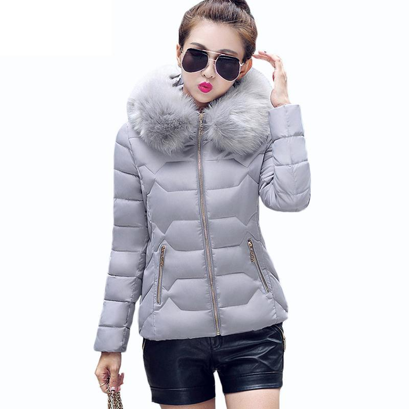 ФОТО Womens Winter Jackets And Coats 2016 Womens Parkas Thick Warm Faux Fur Collar Hooded Anorak Ladies Jacket Female Manteau