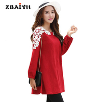 2017 Maternity Dress Autumn Long Sleeved Red Pregnant Dresses Women Pregnancy Clothes Casual Loose Vestidos Plus Size M-3XL