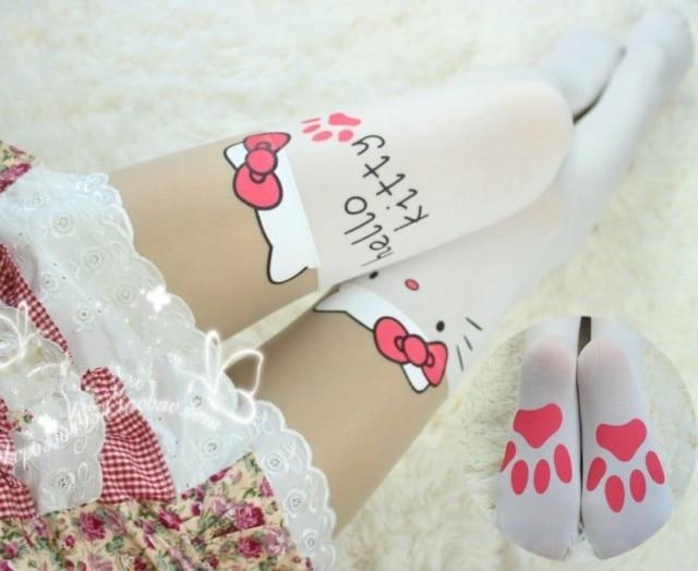 Princess sweet lolita pantyhose HARAJUKU soft amo lolita spank white cat patchwork over-the-knee pretended high stockings KT001