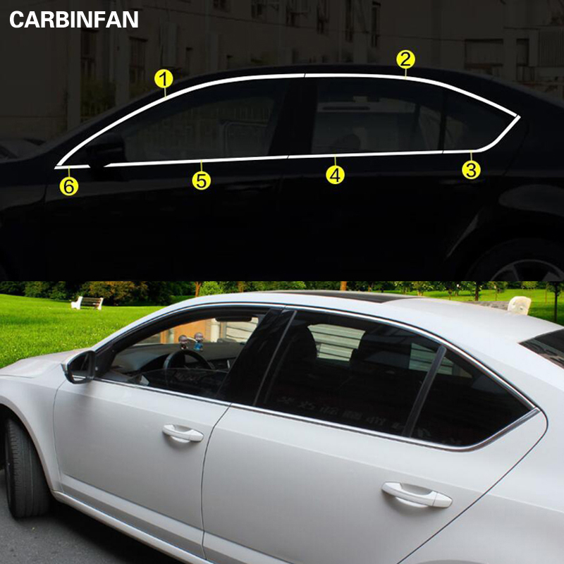 Window trim cover Exterior Chromium Styling Stainless steel car styling decoration accessory For Skoda Octavia A7