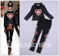 2013 otoño / invierno a la moda Runway mujeres / de la señora de color verde oscuro Plaid camisa / blusa Top + Rose bordado negro pies pantalones traje