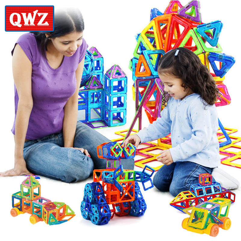 QWZ Mini 158pcs/lot Magnetic Construction Model Building Blocks Toys DIY 3D Magnetic Designer Educational Brick Kids Baby Gift mini 169pcs diy magnetic blocks toys construction model magnetic building blocks designer kids educational toys for children