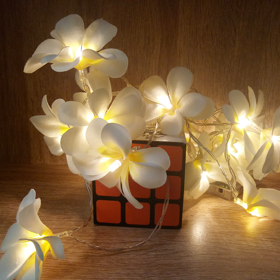 Creative DIY frangipani LED String Lights, AA Battery floral holiday lighting, Event Party garland decoration,Bedroom decoration mipow btl300 creative led light bluetooth aromatherapy flameless candle voice control lamp holiday party decoration gift