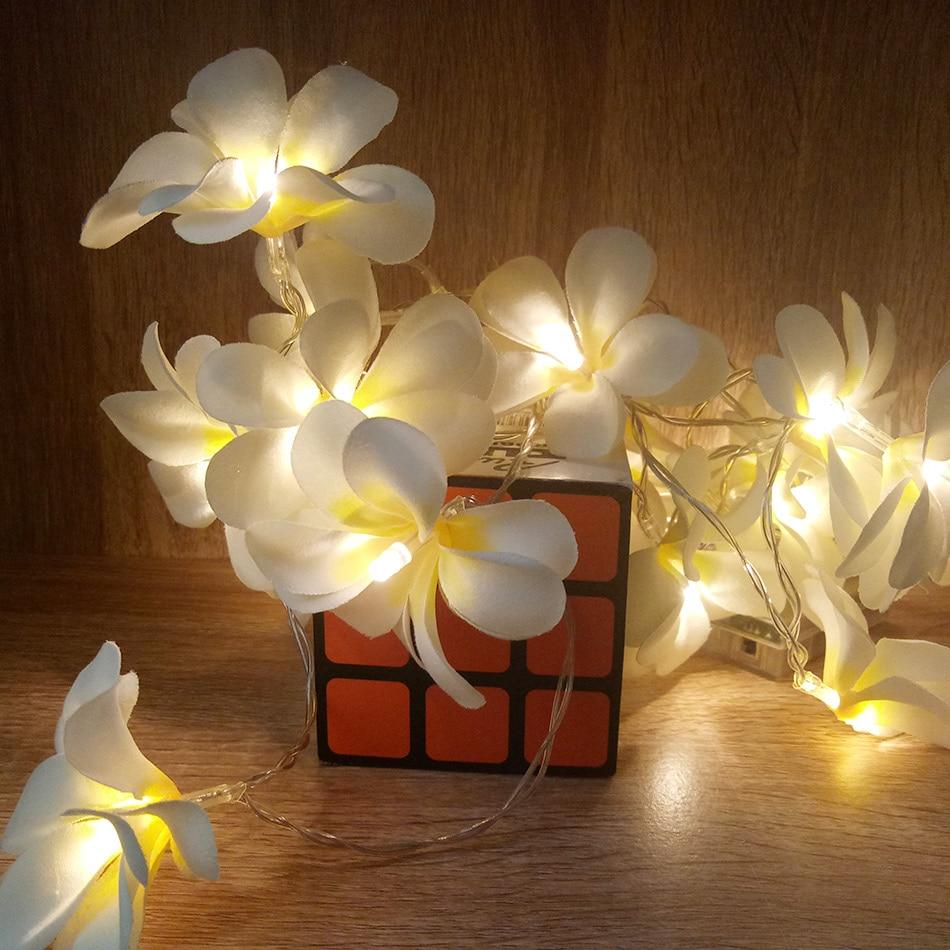 Творческий DIY frangipani Гирлянды светодиодные фонари, AA Батарея цветочный праздник освещения, события вечерние украшения гирлянды, Спальня украшения
