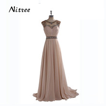 2017 Crystals Long Evening Dress A Line Elegant Scalloped Bling Beaded Women Formal Dress Robe de soiree