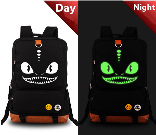 ФОТО Glow in Dark Zipper Mouth Big Eyes Shoulder Backpack Anime Pokemon Messenger School Bag