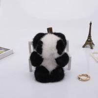 Genuine mini 8cm mink Fur Keychain fashion Soft Fur panda Key ring bag Pendant gift pendant car accessories key rings plush toy