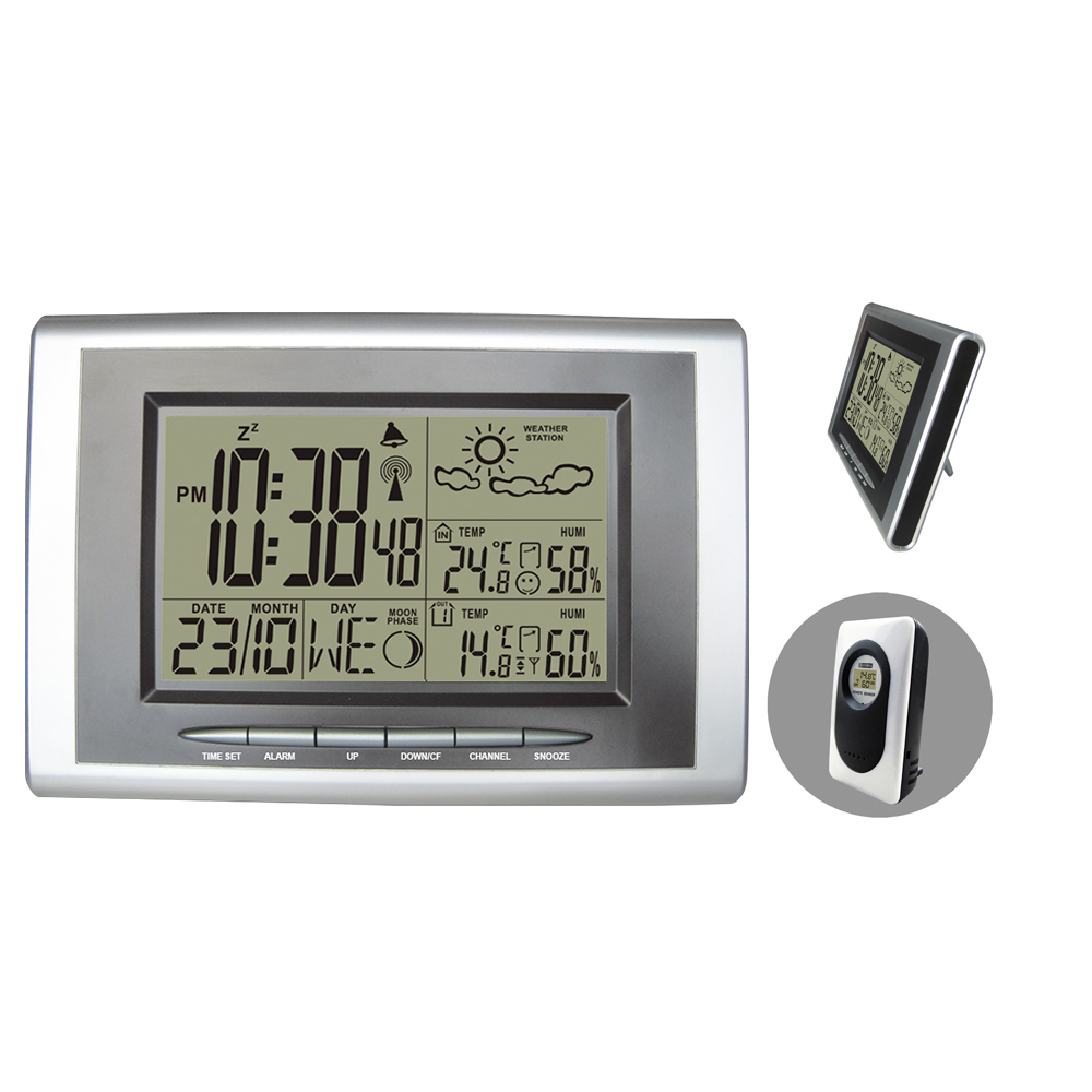 RCC DCF Wireless Weather Station Silver and Black Digital Alarm Clock Indoor Outdoor Thermometer Hygrometer Alarm/ Snooze стоимость