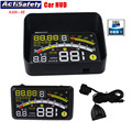 "Novo filme ash-4e obdii carros actisafety cabeça up display 5.5 ""brisa projetor hud head-up display obd2 cabo carro hud + suporte"