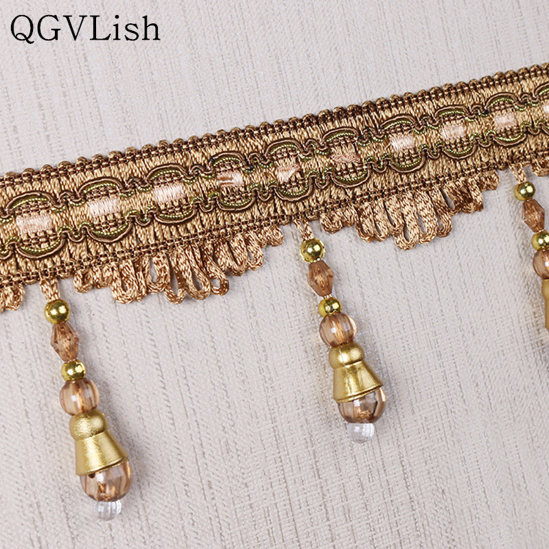 Qgvlish 12m Crystal Beads Curtain Tassel Fringe Lace Trims Diy Sewing Sofa Stage Lamp Edge Decor Curtain Accessories Lace Ribbon Large Assortment Curtain Decorative Accessories