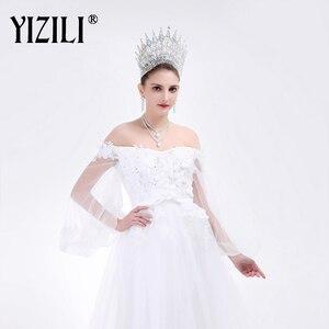 Image 4 - YIZILI grande couronne de mariage de luxe, grande couronne de mariée européenne, grande couronne ronde en cristal, accessoires de cheveux de mariage, C021